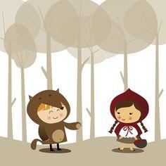 Print Wolf & Little Red Riding Hood por fashionfucsia en Etsy Little Red Ridding Hood, Red Riding Hood, Kawaii Illustration, Wolf Love, Red Hood, Art For Art Sake, Drawing For Kids, Cute Art, Illustrators