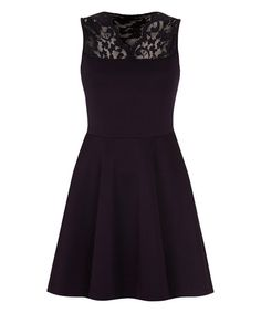 Love this Navy Lace Shoulder A-Line Dress on #zulily! #zulilyfinds