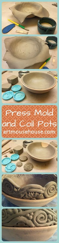 a step-by-step lesson in making a press mold ceramic pot with decorative coils--check out artmousehouse.com for more details: