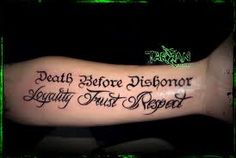 Death before dishonor military tattoo