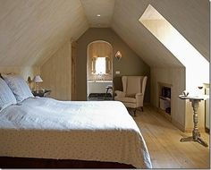 Attic bedroom with adjoining bath Attic Master Bedroom, Attic Rooms, Attic Spaces, Attic Bathroom, Bathroom Ideas, Interior Design Inspiration, Bedroom Inspiration, Loft Room, House Rooms