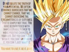 Gohan's motivational quote. - Visit now for 3D Dragon Ball Z compression shirts now on sale! #dragonball #dbz #dragonballsuper