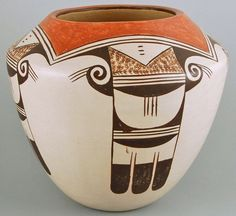 Hopi Pottery, Native American Pottery by Helen Naha, Feather Woman, Eagle Tail Pattern-#679