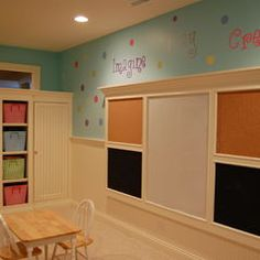 Board for playroom or office. Cork boards, chalk boards and white board!