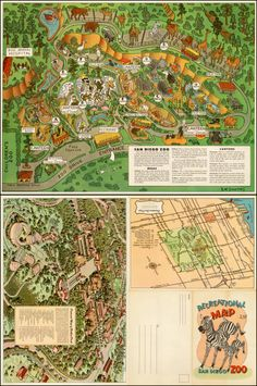 Guide Map to the Zoological Garden Balboa Park San Diego 1934