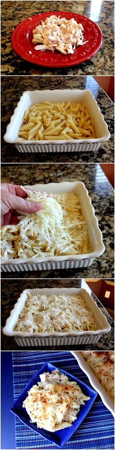 Creamy Chicken Alfredo Pasta Bake. This would be good with marinara sauce and not gross Alfredo..