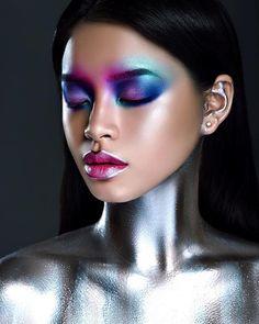Cosmic look with mehron metallic powder metallics and glitte Makeup Inspo, Makeup Inspiration, Beauty Makeup, Mask Makeup, Eye Makeup, Robot Makeup, Mehron Makeup, Maquillage Normal, Tribal Makeup