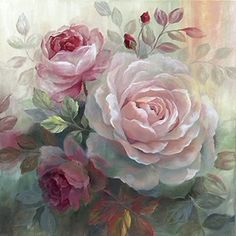 White Roses II Canvas Artwork by Nan Canvas Art Floral, Canvas Artwork, Canvas Art Prints, Flower Images, Flower Art, Watercolor Flowers, Watercolor Art, Decoupage, Rosen Tattoos