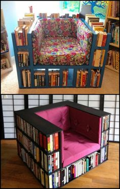 Enjoy a good read while sitting on this DIY bookcase chair! Is this going to be your next project?