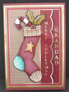 Country Christmas Stocking Grandad on Craftsuprint designed by Dawn Hill - made by Cheryl French - Printed onto glossy photo paper. Matted base image onto gold mirri card. Attatched to card using ds tape. Built up image with 1mm foam pads. - Now available for download!