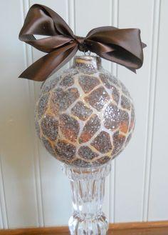 Beautiful 4'' fabric over glass handmade ornament - giraffe print