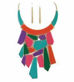 Geometric Bib Necklace & Earrings Set Abstract Collar Neon Mosaic- Great fall statement piece! @modtoast