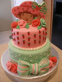 Strawberry Shortcake Birthday Cake by chicapiramide, via Flickr