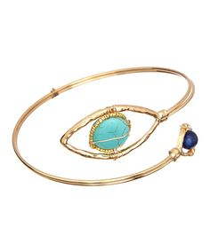 Look what I found on #zulily! Gold & Turquoise Evil Eye Handmade Coil Bracelet by Sevil 925 #zulilyfinds
