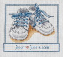 Janlynn Cross Stitch Kit, Baby Shoes