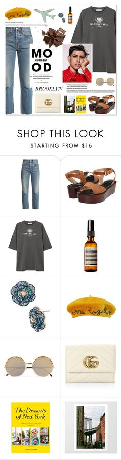 """""""Brooklyn Travel Outfit"""" by outfitsfortravel ❤ liked on Polyvore featuring RE/DONE, Pour La Victoire, Balenciaga, Aesop, Betsey Johnson, Cynthia Rowley, Cutler and Gross, Gucci, Current Mood and Chronicle Books"""