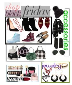 """Shop Black Friday🛍🛍"" by mdfletch ❤ liked on Polyvore featuring Christian Louboutin, Tom Ford, Lola Cruz, White Label, Kate Spade, Carvela, Miss Selfridge, Moschino, Ray-Ban and Palm Beach Jewelry"