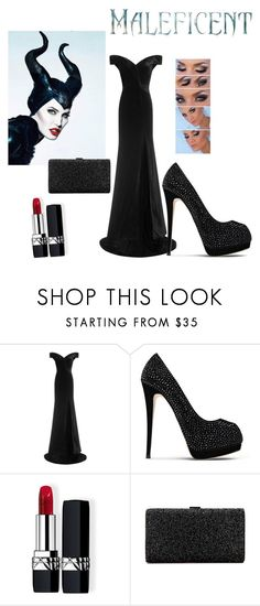 """Maleficent ~ Gown"" by miahadams ❤ liked on Polyvore featuring Rachel Gilbert, Giuseppe Zanotti and Christian Dior"