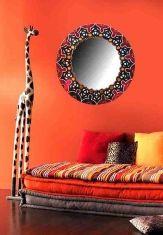 Miroirs Décorés à la Main : Modèle MANDALA AFRICAINE
