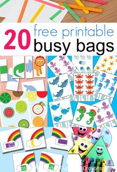 20 free printable busy bags for kids that you can put together in less than 10 minutes! Just print and play! These free printable busy bags are super simple to make--just print and play! Perfect for travel or as quiet time activities. Quiet Time Activities, Infant Activities, Preschool Activities, Educational Activities, Summer Activities, Free Printables For Preschool, Activities For 3 Year Olds, Printable Games For Kids, Road Trip Activities
