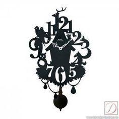 Wanduhr mit Pendel AMS schwarz Holz H43cm | im Landhausstil | Dekoration Landhaus