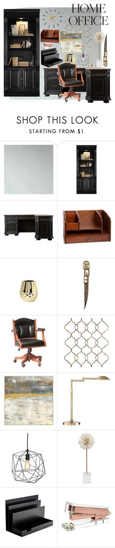 """Home Office"" by the-distracted-dreamer ❤ liked on Polyvore featuring interior, interiors, interior design, home, home decor, interior decorating, Hooker Furniture, Improvements, DutchCrafters and Possini Euro Design"