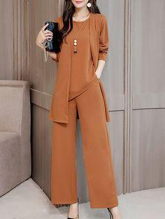 daily dress me Shift Solid Work Three-Piece Set Fashion Pants, Hijab Fashion, Korean Fashion, Fashion Dresses, Modest Fashion, Stylish Dresses, Casual Dresses, Dresses For Work, Daily Dress Me