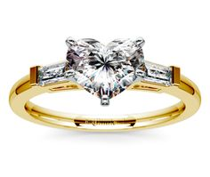 Heart Baguette Diamond Engagement Ring in Yellow Gold  http://www.brilliance.com/engagement-rings/baguette-diamond-ring-yellow-gold-1/3-ctw