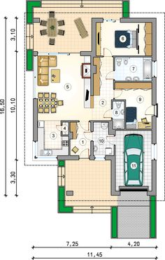 Tani w budowie dom parterowy z tarasem w podcieniu - Studio Atrium Modern House Plans, House Floor Plans, Duplex Plans, Second Birthday Ideas, Plan Design, Planer, Tiny House, Home Goods, Sweet Home