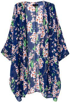 Women's Cardigan Kimono Floral Vintag… Cardigan Floral, Kimono Floral, Cardigan Kimono, Chiffon Kimono, Floral Print Shirt, Sheer Chiffon, Kimono Jacket, Kimono Top, Blue Kimono