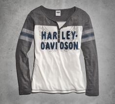 Permission to take off in this super-soft tee. | Harley-Davidson Women's Wings Long-Sleeve Henley
