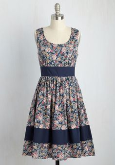 Veggie Patch Picks Floral Dress in Bloom. Squash and beans and this navy blue dress - oh yes! #blue #modcloth