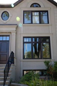 Black Vinyl Casement Windows with Transom with SDL (simulated Divided lights) Black Vinyl Windows, Black Windows Exterior, Modern Windows, House Paint Exterior, Exterior House Colors, Exterior Design, Farmhouse Windows, Modern Farmhouse Exterior, Casement Windows