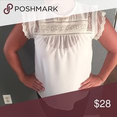 Lace short sleeve blouse Brand new. Can be wore w a cami under or without. Esley Tops Blouses
