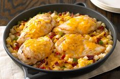 Cheddar Chicken and Potatoes recipe... partially cook chicken then cut into smaller pieces for quicker cook time. Add some lemon pepper and season salt to the potatoes as well. Good for supper!