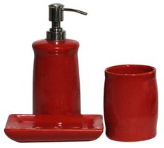 bulk wholesale set of 3 bathroom accessories in red color handmade in ceramic unique
