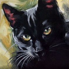 The Witch's Cat. Original oil painting of a black cat by Diane Irvine Armitage. #OilPaintingCat