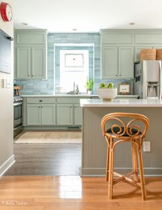 Color Lovers Kitchen Update Updated Kitchen, New Kitchen, Blue Subway Tile, Cabinet Paint Colors, Green Cabinets, Tile Installation, Painting Kitchen Cabinets, Custom Cabinets, Kitchen Remodel
