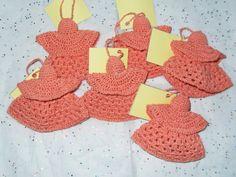 Set of 6 Hand Crocheted Orange Angel Kisses by rustycupboard on Etsy