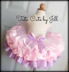 SEWN Baby Pink and Lavender Satin Ribbon Trim Tutu. Tutu Cute By Jill on Etsy https://www.etsy.com/listing/223305108/sewn-baby-pink-and-lavender-satin-ribbon?ref=shop_home_active_2