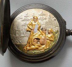 Erotic Automaton Watch - Swiss gunmetal antique pocket watch circa 1900