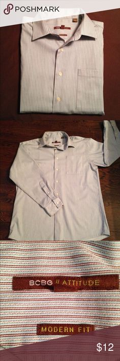 MENS BCBG Long Sleeve Button Down Mens blue with brown and white stripes, one pocket button down. Excellent condition. One small defect spot in stitching, as shown in picture. Size Large, Neck 16, Sleeve 32/33. Smoke free home. BCBG Shirts Casual Button Down Shirts