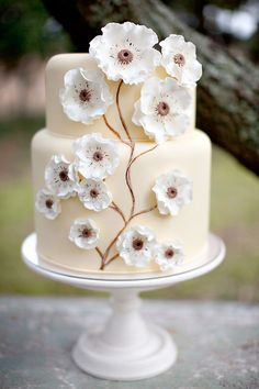 Beautiful Cake Pictures: Beautiful Cream Cake With White Pansies - Elegant Cakes, Flower Cake - Gorgeous Cakes, Pretty Cakes, Cute Cakes, Amazing Wedding Cakes, Amazing Cakes, Gateau Flash Mcqueen, Bolo Cake, Cake Pictures, Cake Images