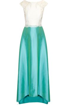 Turquoise green and white beaded flared gown available only at Pernia's Pop Up Shop.#perniaspopupshop #shopnow #happyshopping #designer #newcollection #hemakaul#clothing