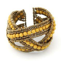 Bohemia Handmade Beaded Bangles Cross Wave Knitted Bracelet