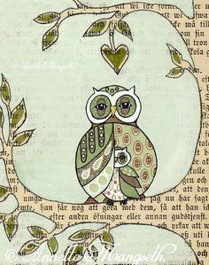 Under my wing mother and child Owl art print door carambatack