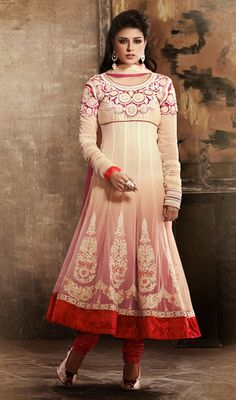 Butter Cream Georgette and Net Anarkali Dress True beauty can come out with this butter cream georgette and net Anarkali dress. Beautified with lace, patch, resham and stones work. #NetAnarkaliDressIndia #LatestStyleChudidarSuits