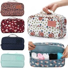 Multifunctional Travel Storage Bag Clothing Bra Underwear Sock Organizer Case Floral Portable Necessary Sorting Pouch Waterproof Travel Cosmetic Bags, Travel Bags, Travel Luggage, Underwear Storage, Cute Luggage, Makeup Bag Organization, Girls Bags, Wash Bags, Aliexpress