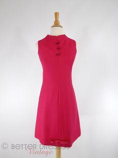 Vintage 1960s Mod Cocktail Dress in Deep Raspberry - sm, med by Better Dresses Vintage
