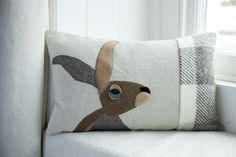 Handmade Hare cushion with mixed tweeds welsh by SeaforthDesigns